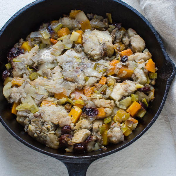 stuffing in a cast iron skillet - mashed down.