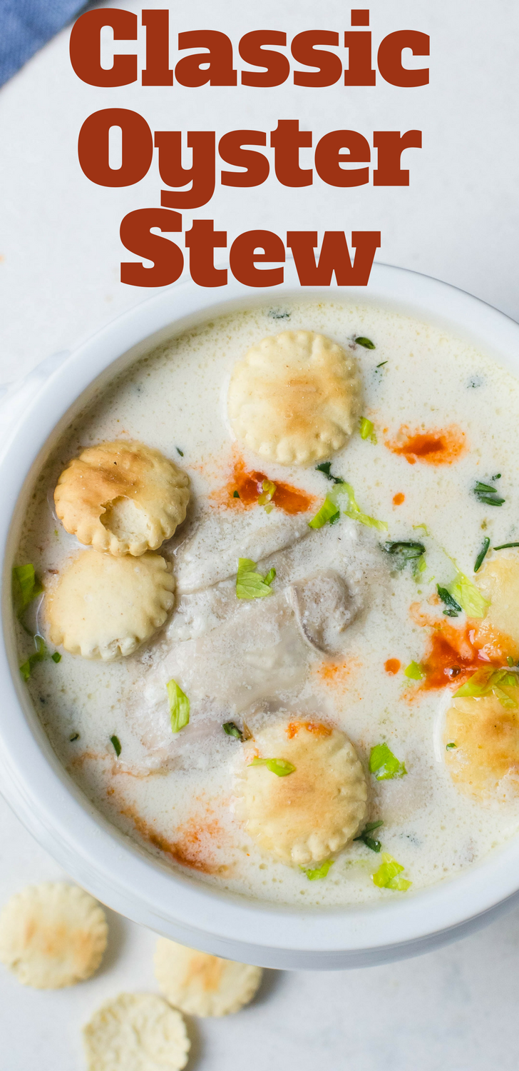 This classic oyster stew recipe is easy & delicious. Oysters, milk & cream make this seafood stew rich & hearty! Great with oyster crackers & hot sauce. #seafood #oysters #soup #stew #milk #cream #oysterstew #authenticoysterstew #creamsoups #seafoodsoup #seafoodchowder #chowder #shellfish #rappahannockriveroysters #chesapeakebayoysters