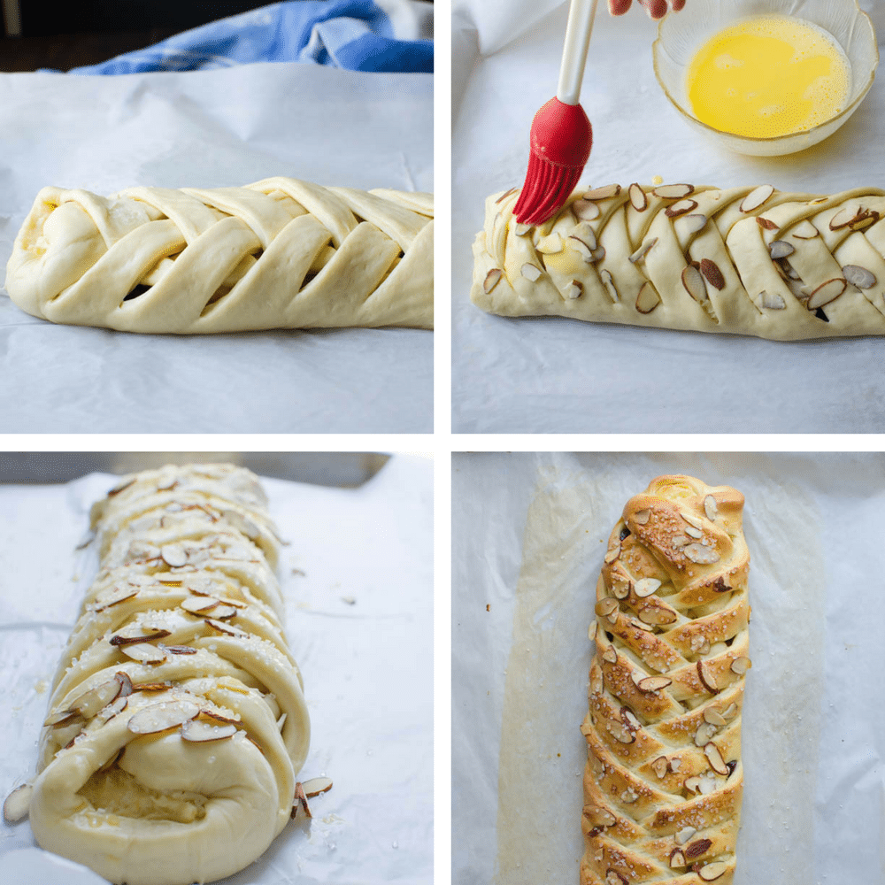 steps for finishing and baking the braid.