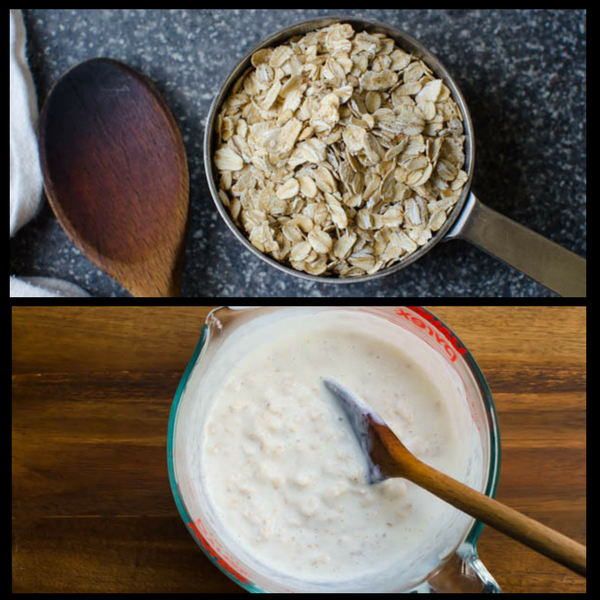 blending oatmeal and buttermilk for oatmeal muffins.