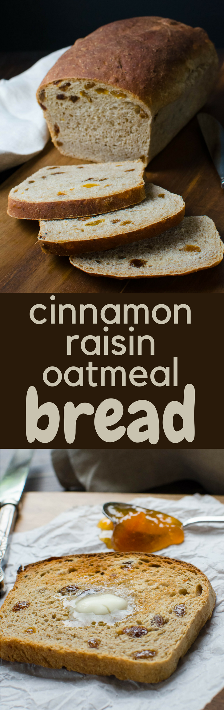 Need a good raisin bread recipe? Cinnamon Raisin Oatmeal Bread is a simple, foolproof loaf that's hearty and delicious. Makes 2 large loaves. #homemadebread #raisinbread #cinnamonraisinbread #raisinbreadrecipe #bakingbread #baking #bread #breadrecipe #oatmealbread #maple #yeastbread #yeast #breakfast #toast
