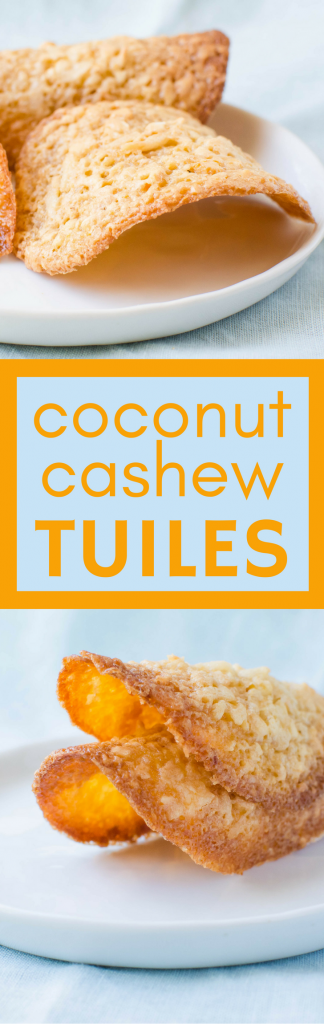 Need a tropical cookie recipe? These light, crispy Coconut Cashew Tuiles have a buttery caramel sweetness w/a bit of dark rum for island-like flavor! #cookies #homemadecookies #cashewcookies #coconutcookies #tuiles #rum #tropicalcookies #buttercookies #dessert #christmascookies #holidaycookies #baking #cookiebaking #bestcookies #besttuiles