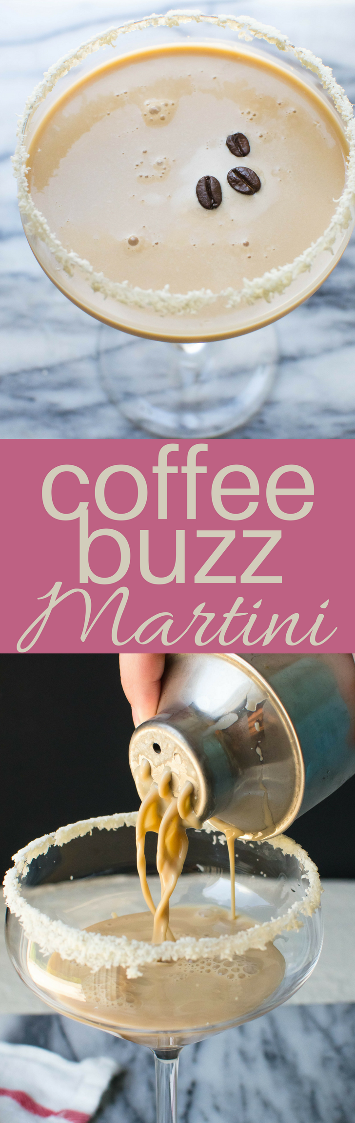 This easy Coffee Buzz Martini recipe is a cross between cocktails & dessert! Kahlua, Irish cream, vodka, coffee simple syrup & half and half, shaken with ice will sneak up on you! #cocktails #cocktail #martini #coffee #espresso #kahlua #irishcream #baileys #halfandhalf #simplesyrup #vodka #newyearseve #dessertcocktail #dessert #alcoholicbeverage #libations #drinks #shakenmartini