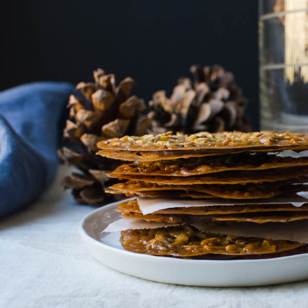 a stack of Chocolate Almond Florentines
