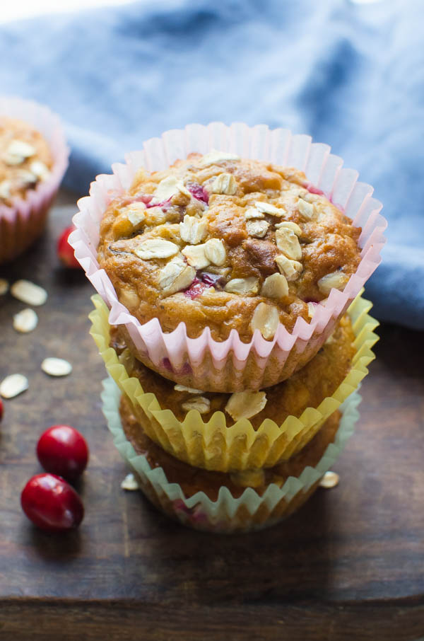 Low sugar breakfast muffins stacked on one another.