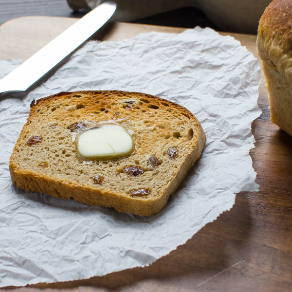 Toasted Cinnamon Raisin Oatmeal Bread