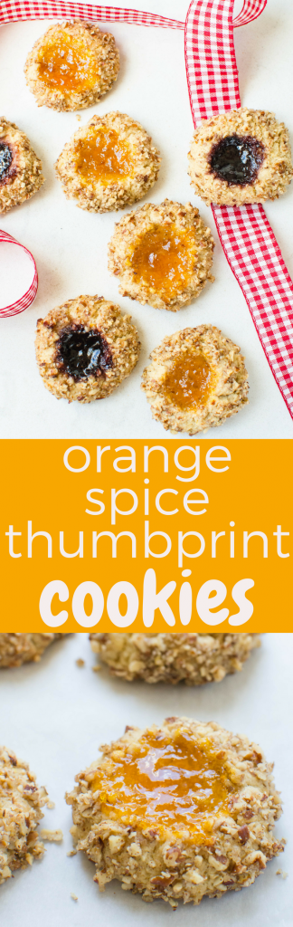 The best Christmas cookie recipe? Orange Spice Thumbprint Cookies w/cinnamon, cardamom, orange zest & crunchy pecan coating are IT! Use your favorite jam. #cookies #christmascookies #thumbprintcookies #bestchristmascookies #jamthumbprint #pecancookies #shortbread #cinnamon #cardamom #orange #spicecookies #apricotjam #blackberryjam #jamcookies #holidaycookies
