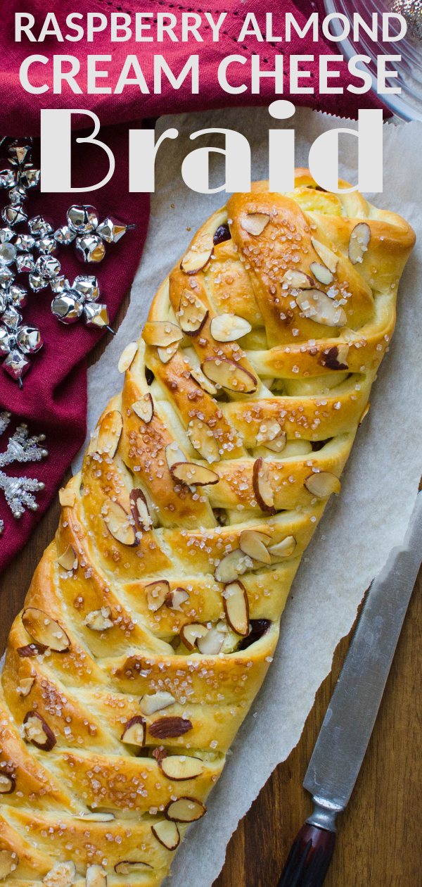 This step by step breakfast pastry recipe makes two large Raspberry Almond Cream Cheese Braids that are perfect for holiday brunch and entertaining! #breakfastpastry #breakfast #brunch #coffeecake #creamcheesepastry #raspberrypastry #raspberry #almond #creamcheese #holidaybrunchrecipe #yeastdough #easypastry #pastrybraid #brunchsweets #sweetbrunchrecipe