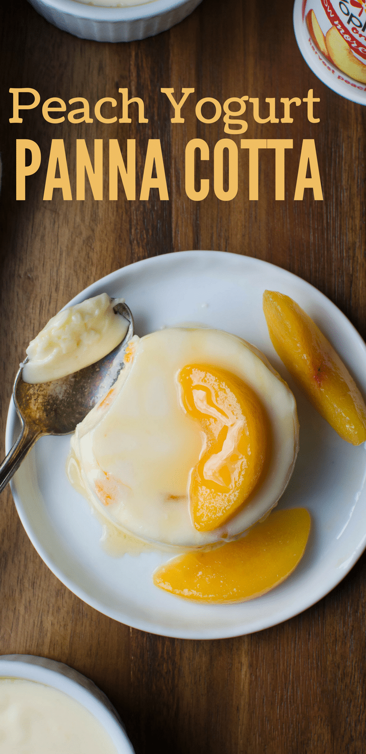 #AD Need an easy dessert recipe? This quick, simple custard only takes minutes to assemble. Peach Yogurt Panna Cotta is filled with fresh fruit with a creamy, silky texture. Serve with fresh peaches and honey! #yoplaitmorefruit #peachyogurt #yogurt #dessert #pannacottarecipe #yogurtpannacotta  #peachpannacotta #easydessert #nobakecustard #gelatin #fruitdesserts #easypannacotta #honey #cream #peaches #vegetariandessert #vegetarian #schnapps #peachschnapps