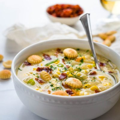 Luscious Smoky Sweet Corn Chowder with Potatoes and Bacon