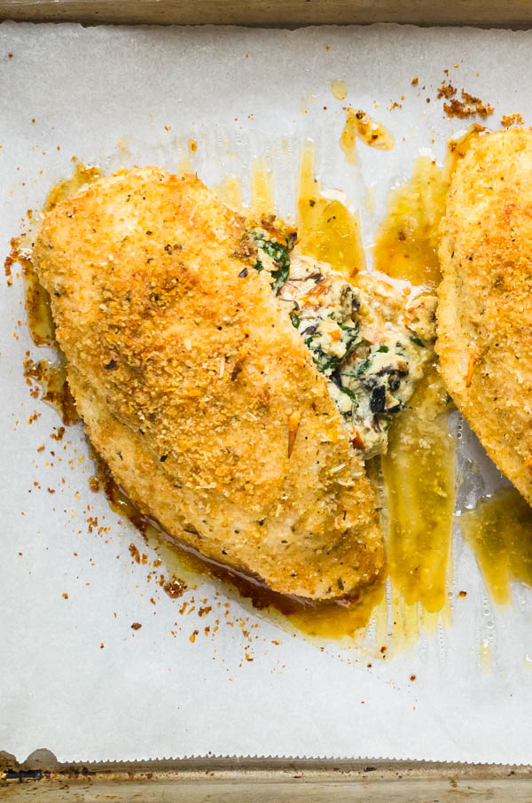 baked stuffed chicken breast in oven.