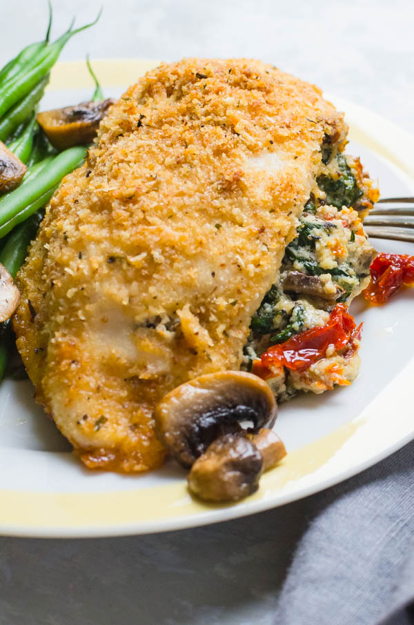 Boneless chicken breast stuffed with spinach and ricotta cheese
