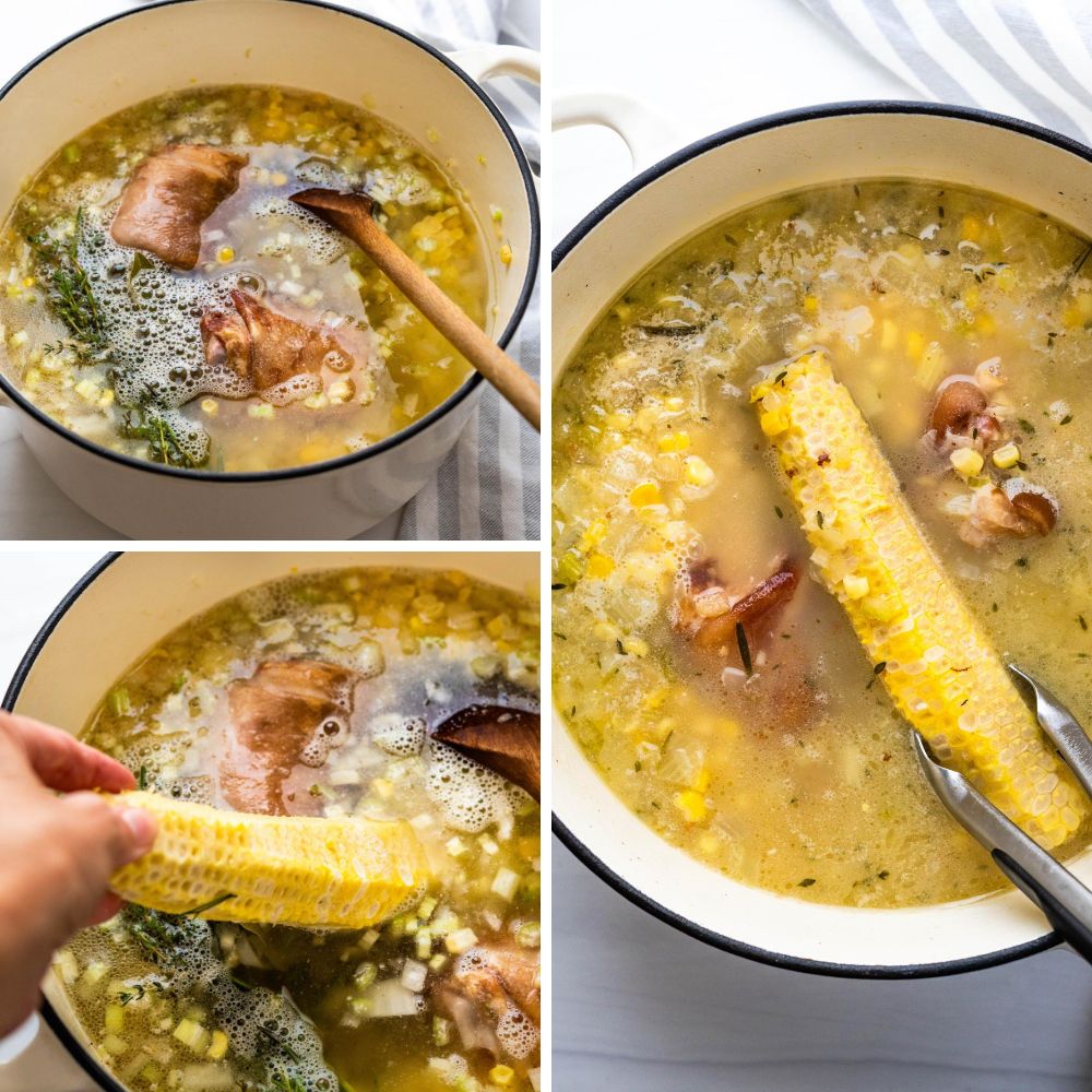 flavoring sweet corn chowder with corn cobs and ham hocks.