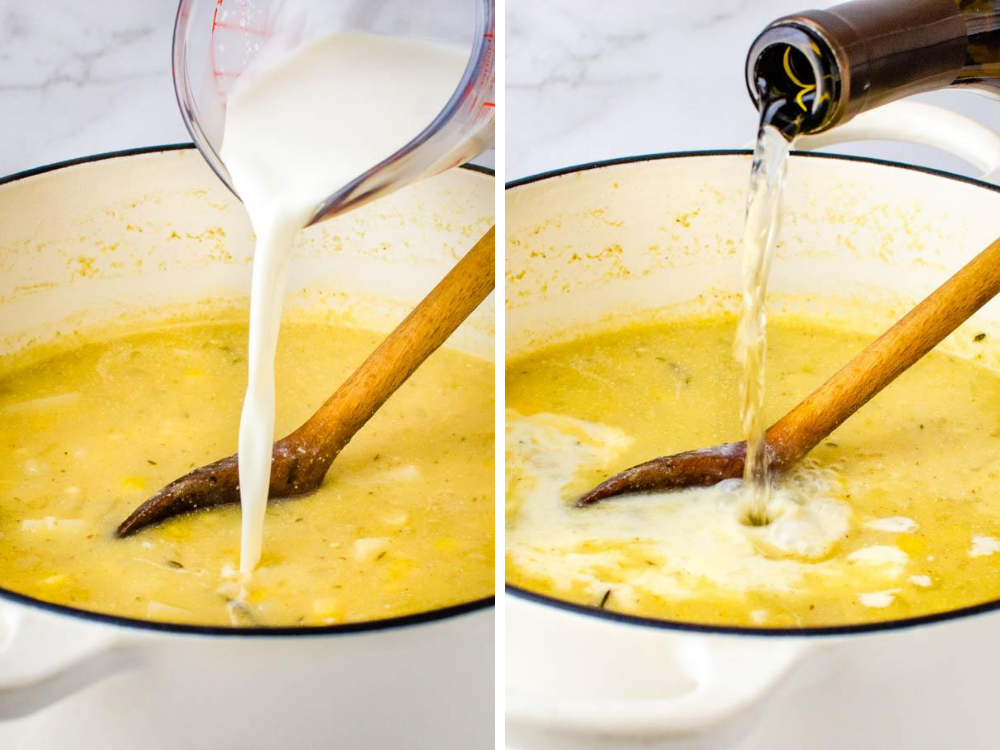 finish the corn soup with cream and wine.