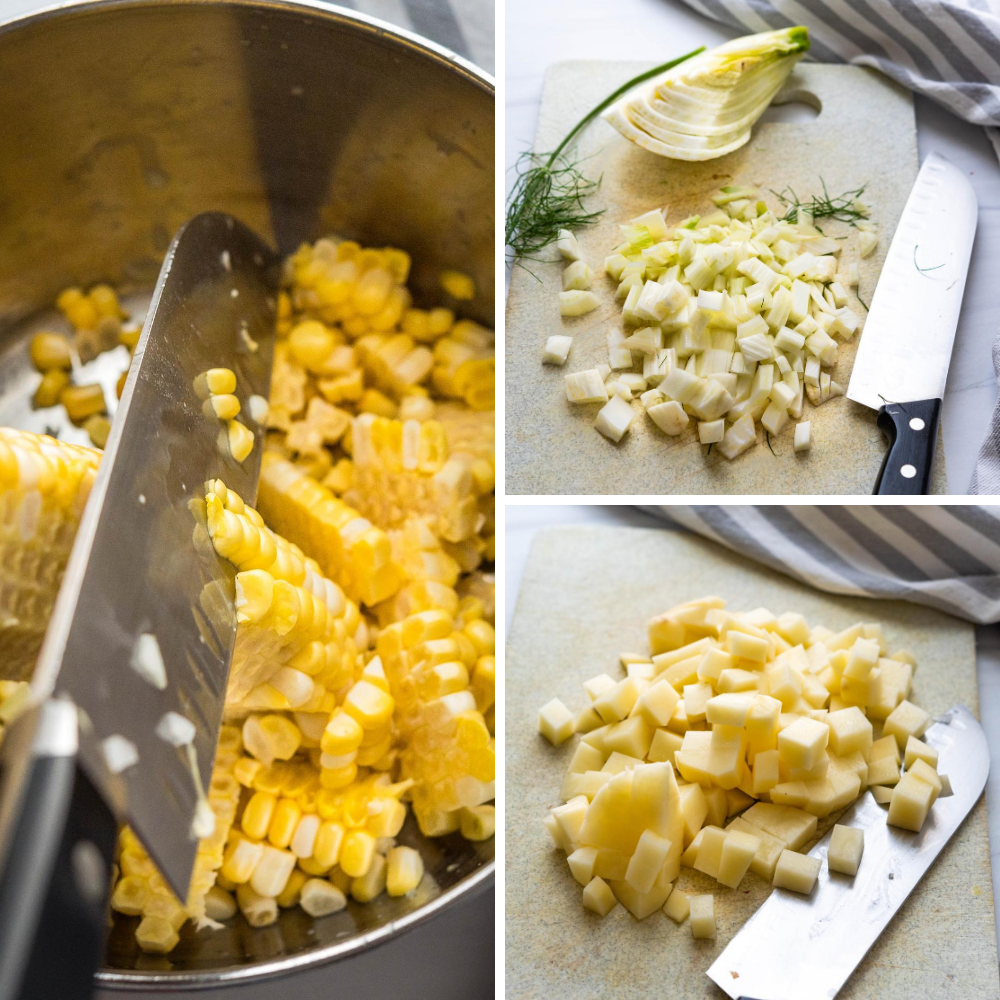cutting corn off the cob, dicing fennel and potatoes.