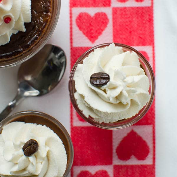 Bittersweet Kahlua Pots De Creme with coffee beans