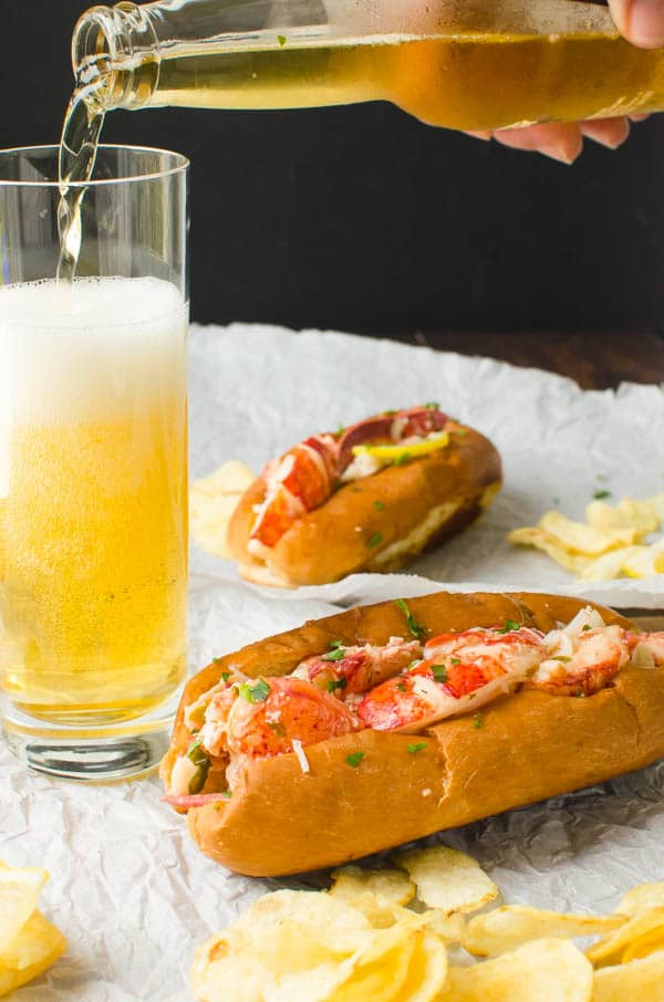 Warm Lemon Butter Lobster Roll and a beer