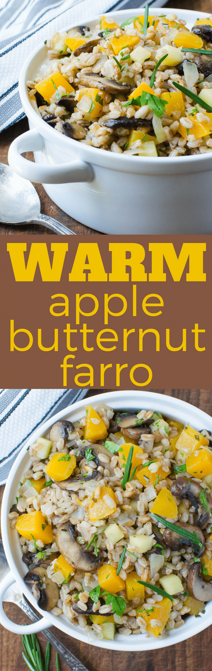 This is the perfect fall or winter side dish! Warm Apple Butternut Farro is easy vegetarian side dish recipe with mushrooms, butternut squash, apples and farro, a healthy ancient grain. A whole cinnamon stick lends a warm, cozy scent and flavor. #sidedish #easysidedish #wholegrains #wholegrainsidedish #pilaf #butternutsquash, #mushrooms #apples #cinnamon #rosemary #vegetarian #farro #ancientgrains #grains #farrorecipe #butternutsquashrecipe #pilafrecipe