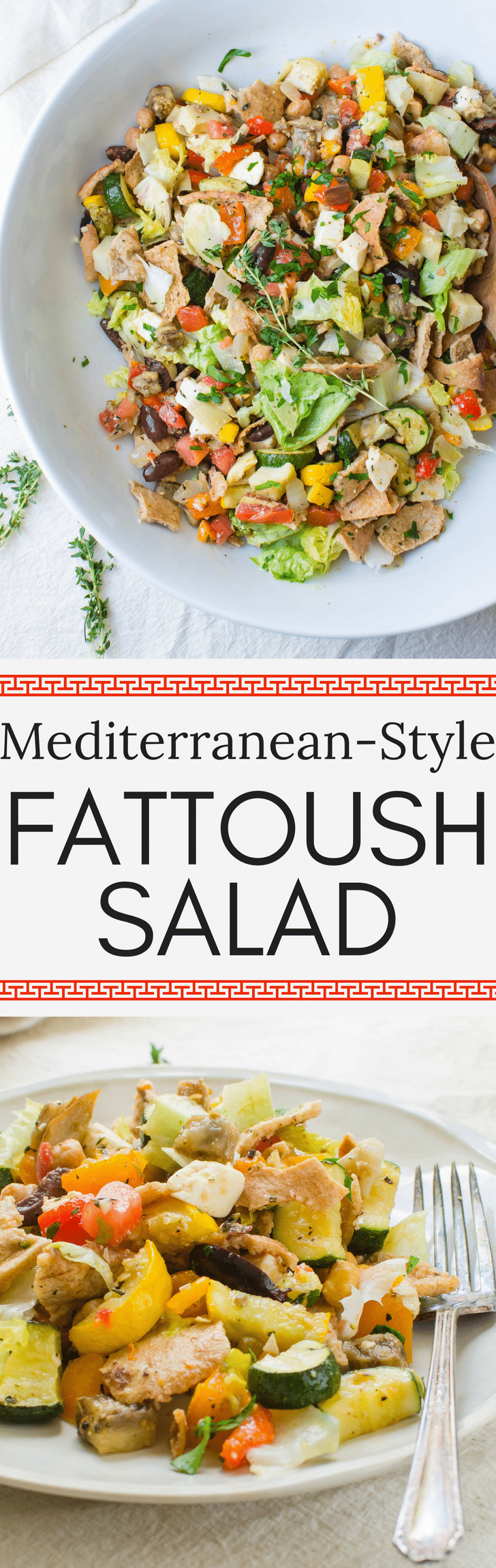 Inspired by Lebanese fattoush this inauthentic, but delicious Mediterranean-Style Fattoush Salad recipe has the best way to cook eggplant. Learn how to make fattoush as a great vegetarian or vegan main dish or fresh side dish to grilled foods. #fattoush #fattoushsalad #pitabread #pitasalad #panzanella #zucchini #eggplant #howtoroastvegetables #howtocookeggplant #fattoushsaladrecipe #breadsaladrecipe #roastedvegetables #fennel #homemadedressing #homemadevinaigrette #lemonvinaigrette #lemonherbdressing #vegetarian #vegan #zucchini #peppers #chickpeas #garbanzobeans