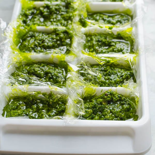 pesto in an ice cube tray - ready to freeze.