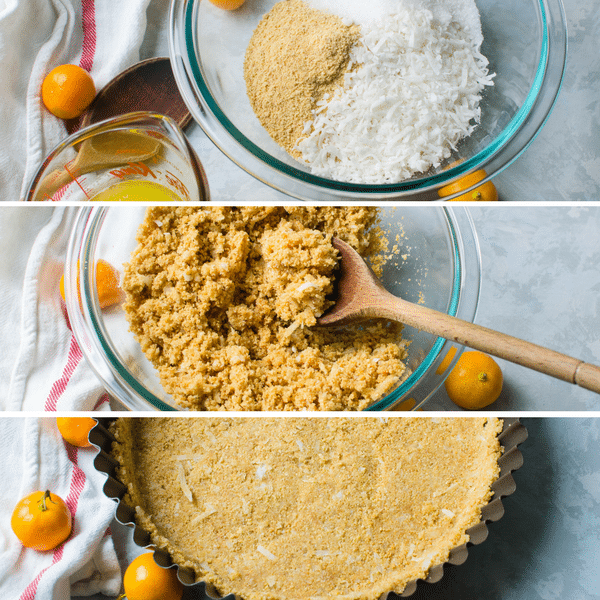 3 photos showing how to make graham cracker coconut crust.