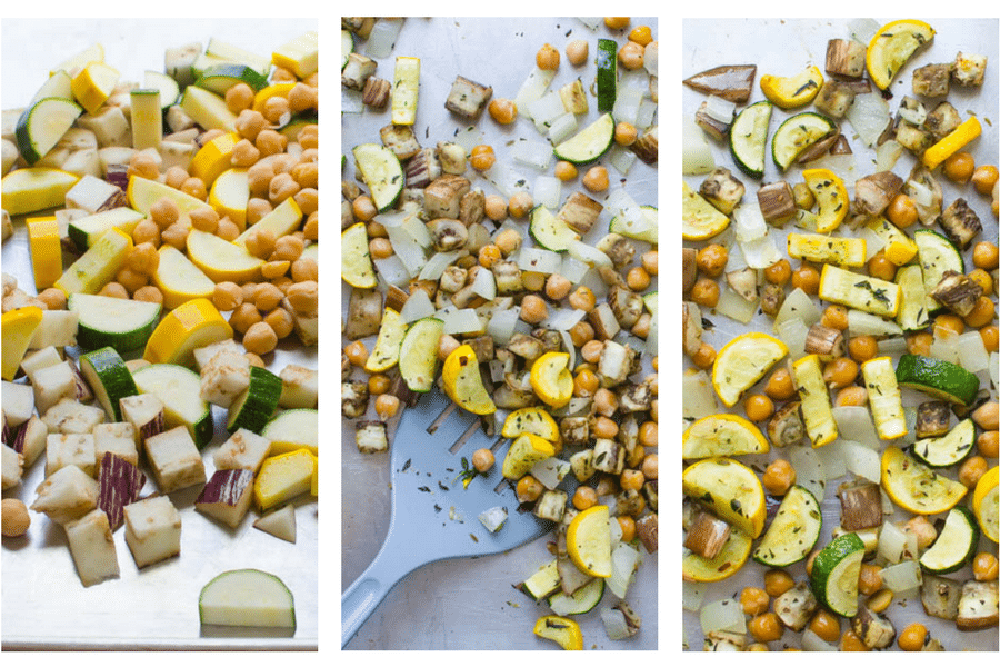 step by step images of roasting vegetables from raw to cooked.