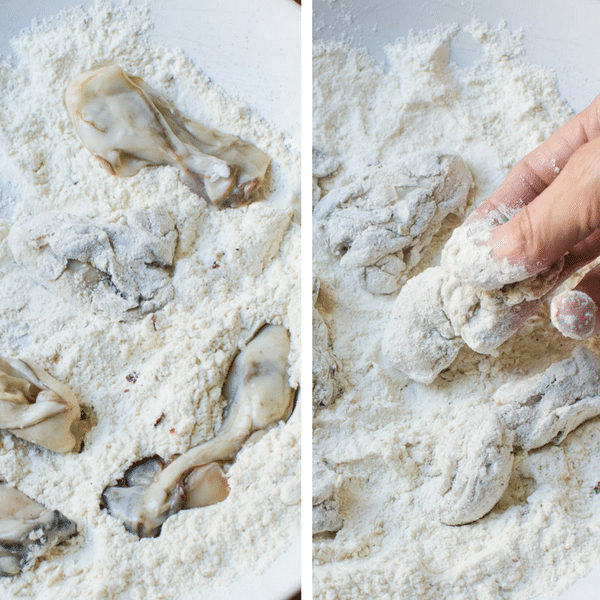 coating oysters with flour