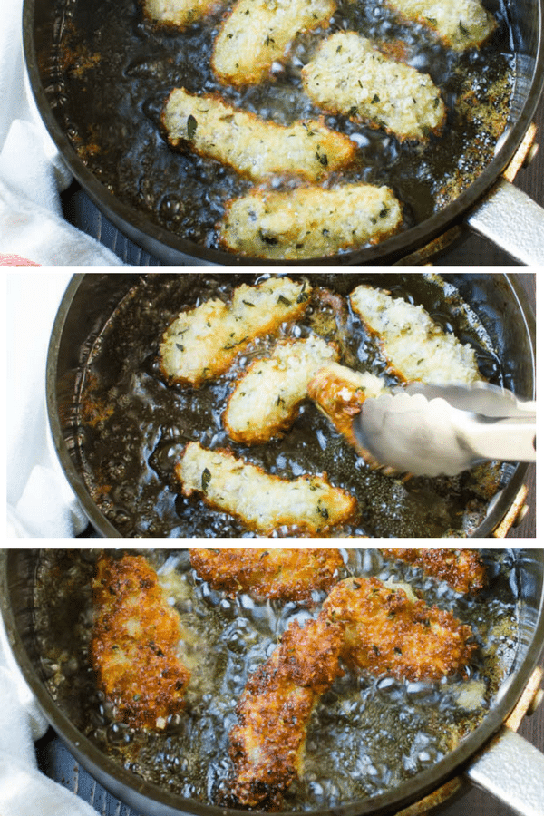 step by step photos of frying oysters.