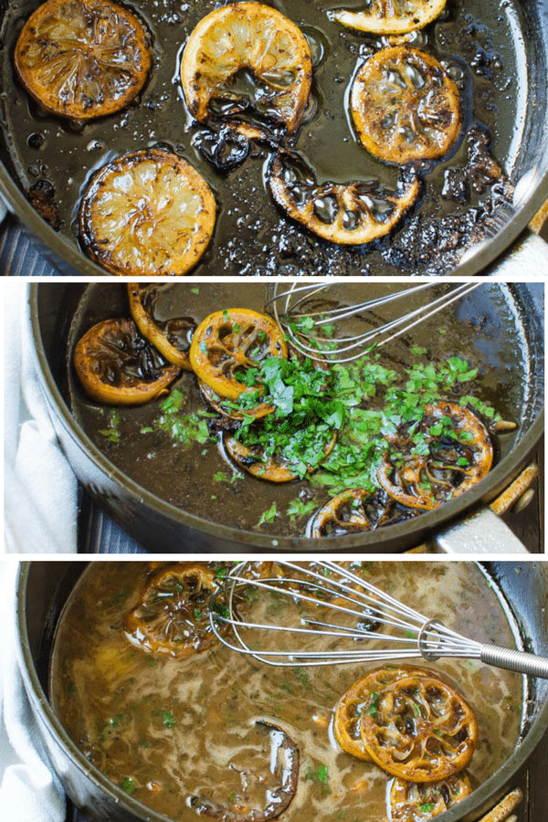 step by step photos of making oreganata sauce in a pan.