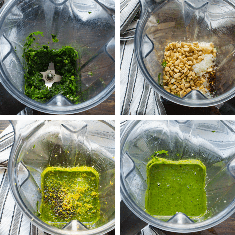 collage of the steps of making pesto in the blender...