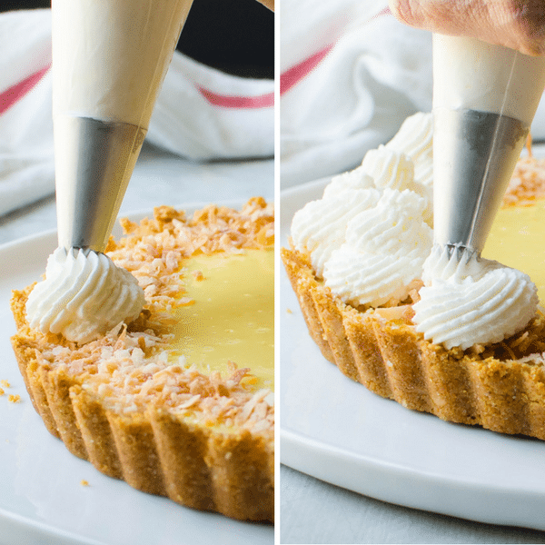 two photos showing how to pipe stabilized whipped cream around the rim of the pie.