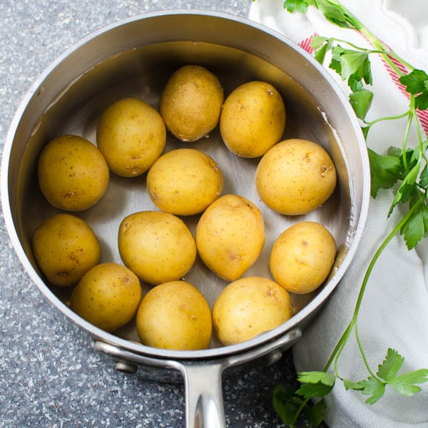 potatoes in a pot with water.