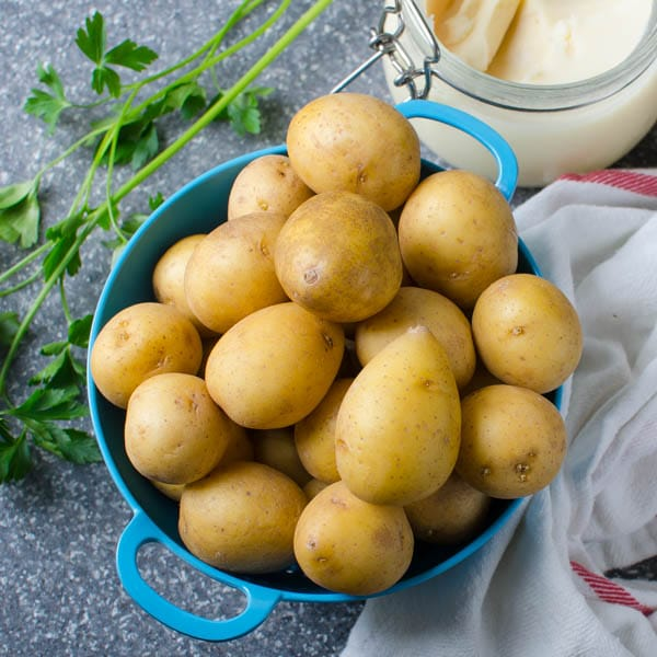 baby potatoes in a colander.