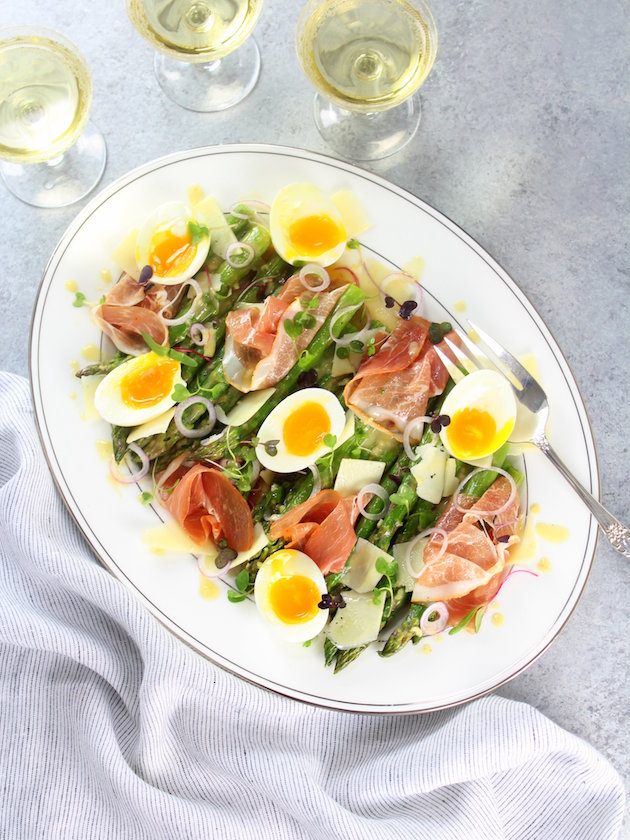 Asparagus Salad with Prosciutto Eggs and Dijon Vinaigrette