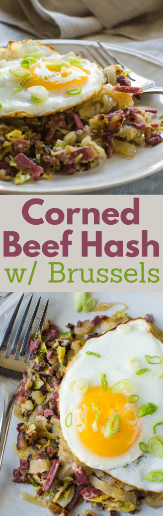 Wondering what to do with your leftover corned beef from St. Patrick's Day? This easy corned beef hash recipe is made from scratch with a few surprises. Corned Beef Hash with Shaved Brussels and caramelized onions is a delicious way to use up corned beef leftovers. #cornedbeef #leftovercornedbeef #homemadecornedbeefhash #cornedbeefhash #flannelhash #hash #hashandeggs #brusselssprouts #caramelizedonions #potatoes #potatohash #skilletdinners #skilletdinner #brunch #breakfast #onepanmeals #easyhash #easycornedbeefhash #easterbrunch #saintpatricksday, #cornedbeef, #eggs, #friedeggs #eggsovereasy #sunnysideupeggs