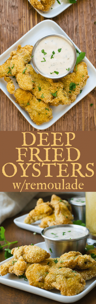 If you like fried seafood, you'll love these Deep Fried Oysters with Remoulade. This simple oyster appetizer with easy remoulade sauce is like a weekend trip to the shore. #oysters #friedoysters #deepfriedoysters #cornmealfriedoysters #cornmealcrustedoysters #friedseafood #appetizer #seafoodappetizer #friedseafoodappetizer #friedoysterappetizer #oysterrecipe #friedoysterrecipe #howtomakeremouladesauce #remoulade #remouladesauce #howtofryoysters