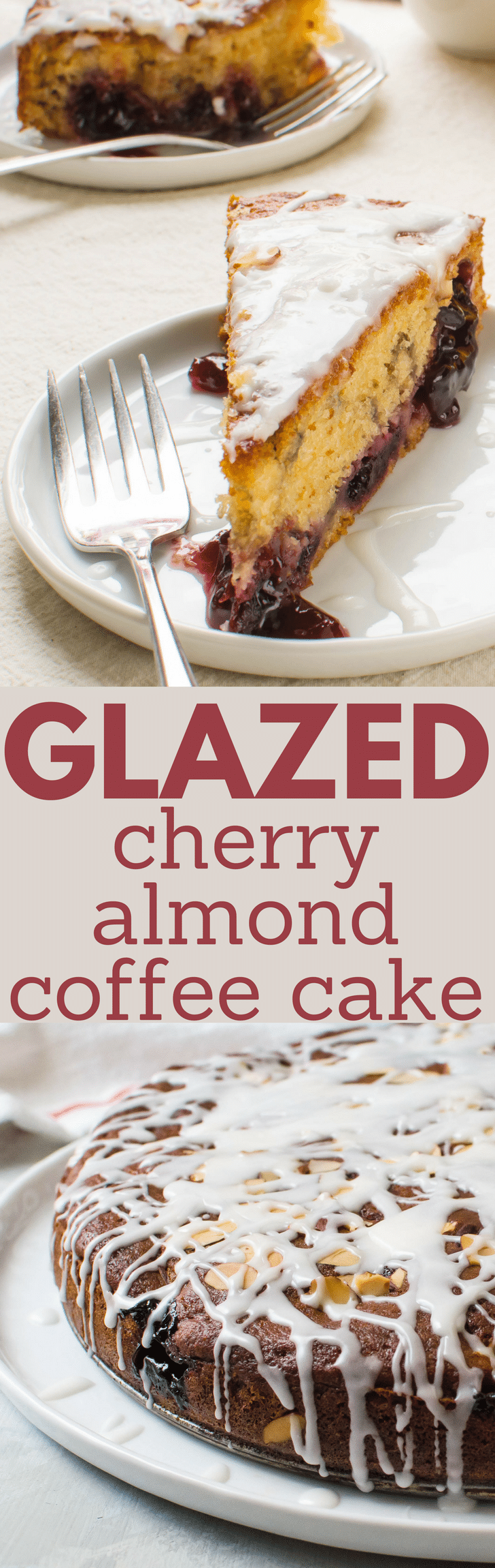 Need a homemade coffee cake for brunch? Glazed Cherry Almond Coffee Cake is always a favorite! Perfect for Easter Brunch or Mother's Day breakfast in bed, this moist coffee cake recipe is a showstopper. #coffeecake #dessert #cake #cherries #almonds #easter #mothersday #cherrycoffeecake #almondcoffeecake #coffeecakerecipe #christmas #valentinesday #breakfast #brunch #glazed