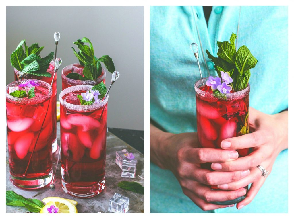 spiked hibiscus mint tea in two photos... one with four glasses of tea, the other being held by a woman in both hands.