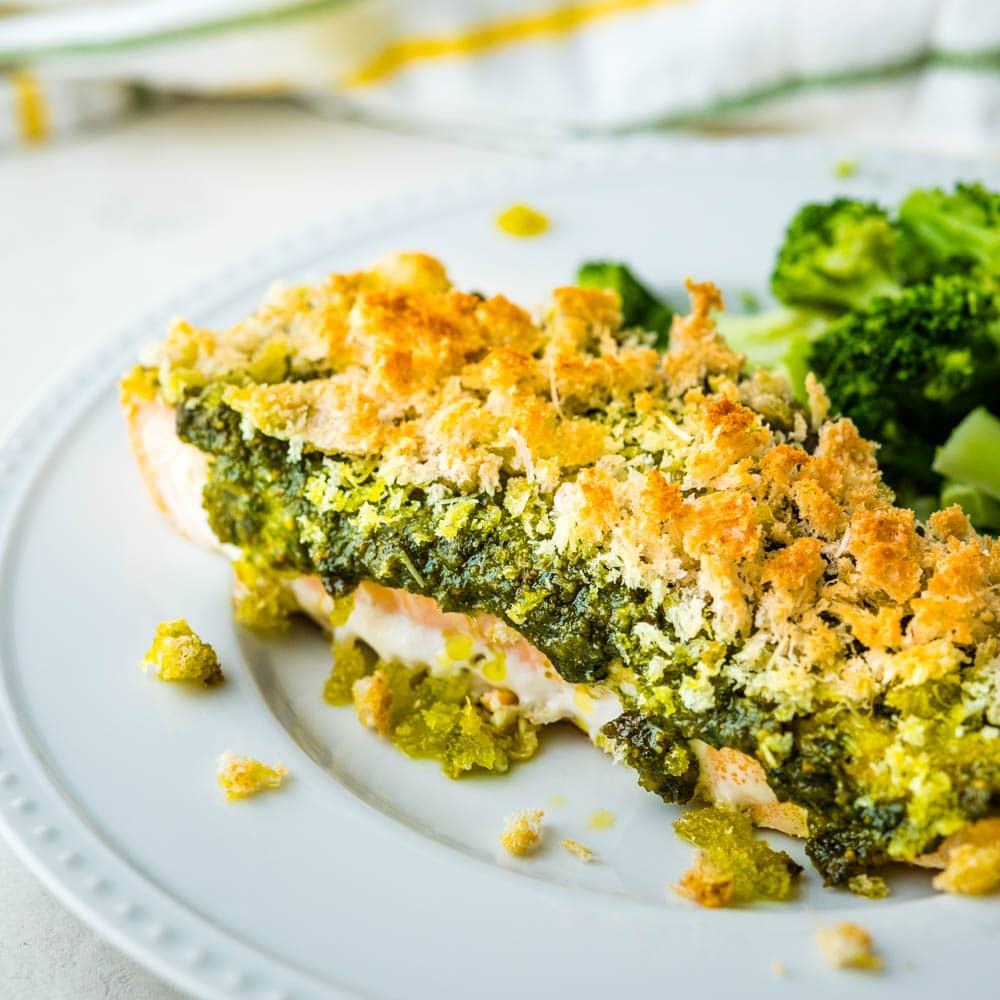 Parmesan Pesto Baked Salmon