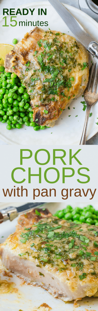 Want to know how to pan fry pork chops? These pork chops with pan gravy are an easy, hearty weeknight meal. Simple preparation and ready in 15 minutes, breaded fried, pork chops will satisfy everyone's appetite! #porkchops #panfriedporkchops #porkchopsrecipe #mustardporkchops #dijonporkchops #howtopanfryporkchops #pansauce #pangravy #lemonjuice #15minutemeals #under30minutes #mealsinminutes #easyporkchops #quickporkchops #breadedporkchops #fastporkchops #porkchopsrecipe #bestporkchoprecipe