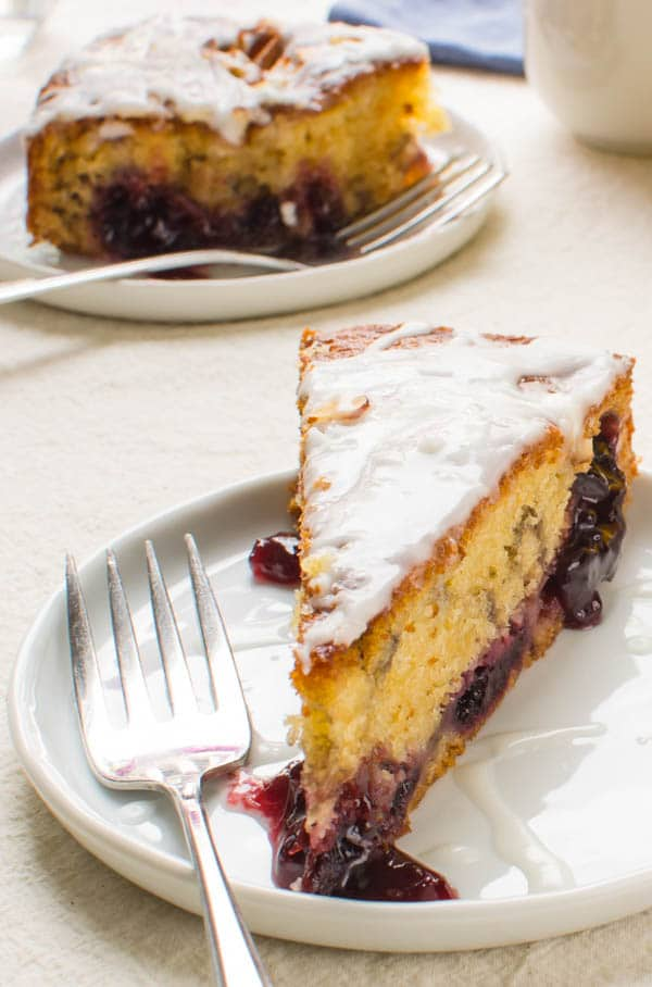 slice of Cherry Almond Coffee Cake with a fork.