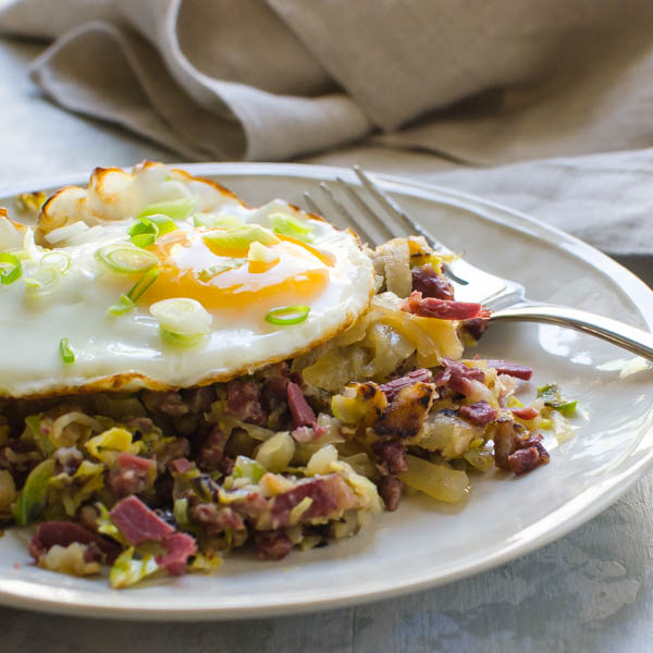Corned Beef Hash With Shaved Brussels Garlic Zest