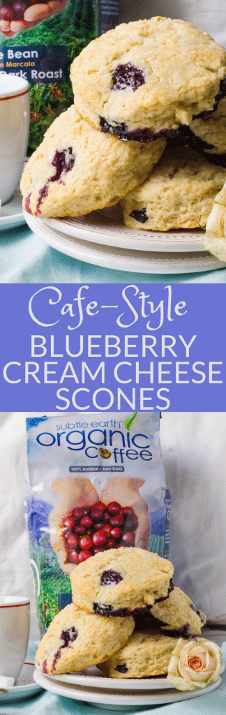 #ad If you love homemade scones, then Blueberry Cream Cheese Scones are for you! These baked scones have butter, cream cheese and fresh berries for the best blueberry scones for weekend brunches or celebrations. This easy baked scones recipe feeds a crowd. #scones #blueberryscones #creamcheesescones #bakedscones #brunch #breakfast #sconesrecipe #howtomakescones #blueberries #biscuits #mothersdayrecipe #4thofjulyrecipe #coffeehouse #coffee #cafedonpablo #subtleearthorganiccoffee #donpablocoffee