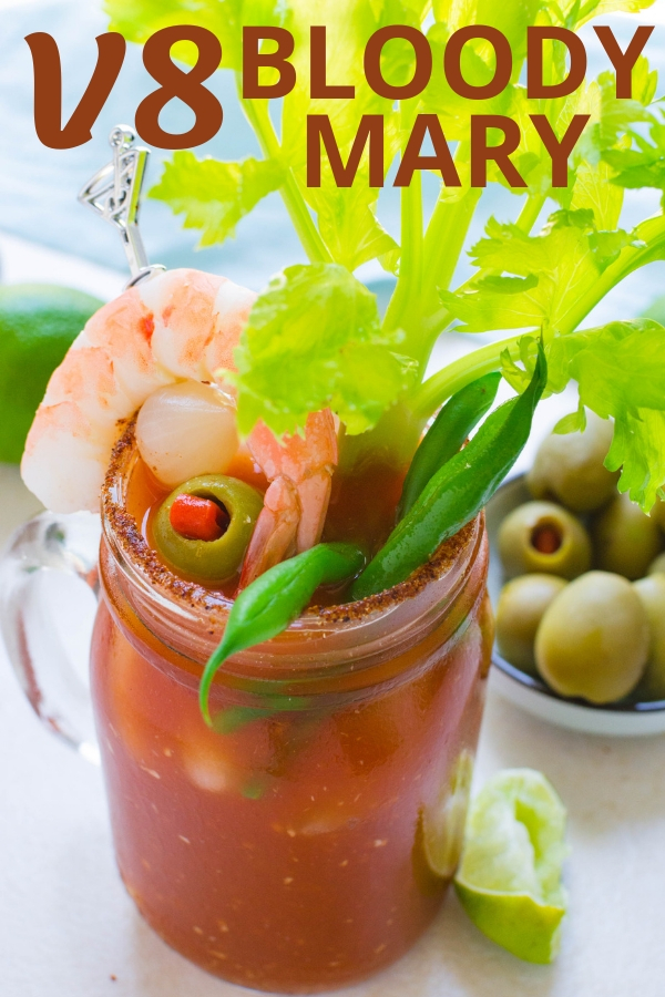 Love a vodka tomato juice cocktail? Try a V8 Bloody Mary with Bloody Mary salt rim and assorted Bloody Mary skewers for garnish! Happy Brunching! #v8bloodymaryrecipe #bloodymaryrecipe