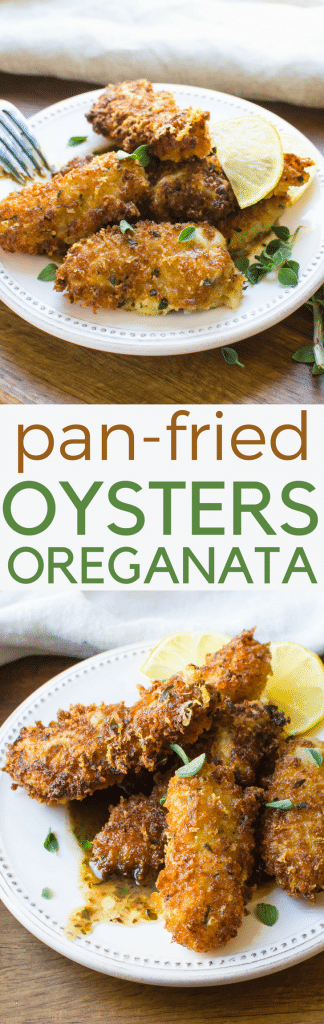 Love pan fried oysters and oreganata? Then you'll love These Pan-Fried Oysters Oreganata with a crunchy crust and lemony oreganata sauce. Learn how to fry oysters without a deep fryer and achieve a golden, crispy coating. A great pescatarian appetizer. #oysters #friedoysters #oreganata #howtofryoysters #oregano #buttersauce #lemonsauce #pescatarian #appetizers #friedseafood #oysterappetizer