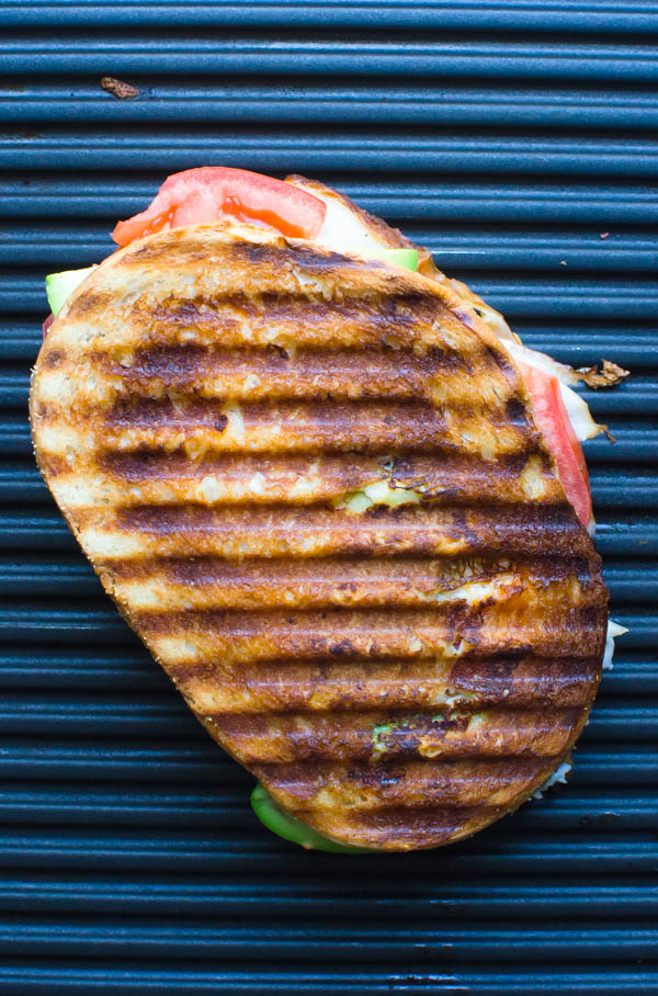 California Smoked Chicken Panini on a panini press.