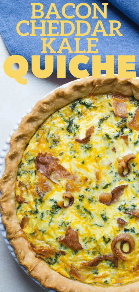 Looking for an easy breakfast quiche recipe? This homemade quiche uses a prepared pie crust for convenience, but the egg custard and the rest of the ingredients in this Bacon Cheddar Kale Quiche are fresh and from scratch. Serve kale quiche for breakfast, brunch and as a make-ahead holiday recipe. #quiche #kalequiche #baconquiche #baconcheddarquiche #brunch #breakfast #holidaybreakfast #holidaybrunch #kale #bacon #cheddar #eggs