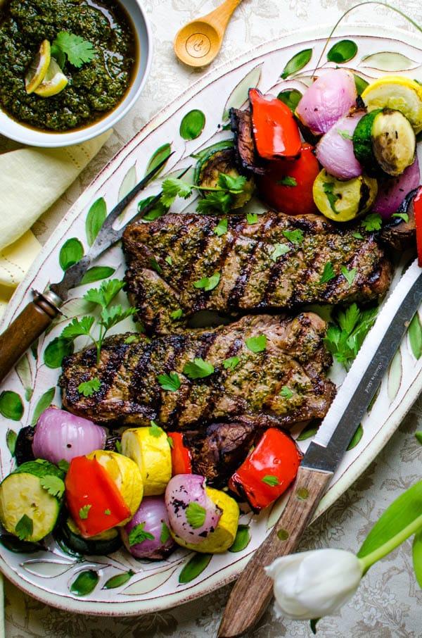 Grilled Strip Steaks and vegetables.