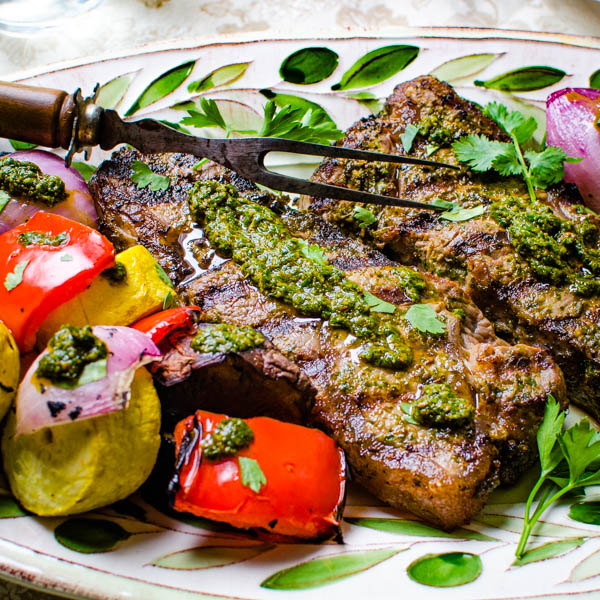 Grilled Chermoula Marinated Strip Steaks
