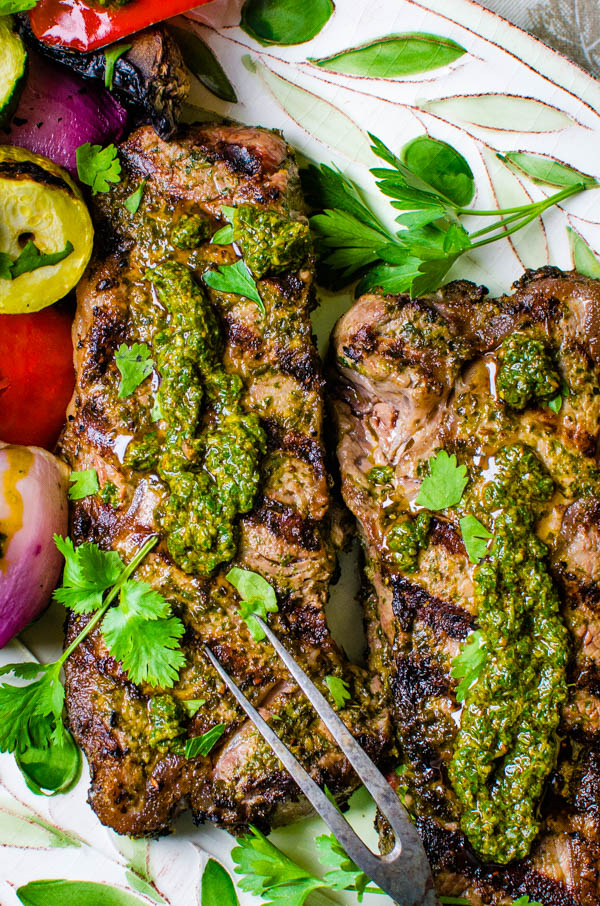 Grilled Strip Steaks with Chermoula.